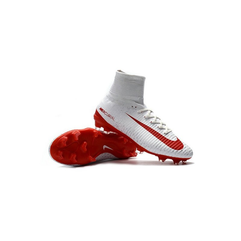 New Nike Mercurial Superfly 5 FG Firm Ground Football Cleats White Red