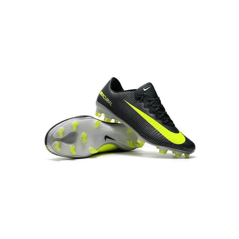 Nike Mercurial Vapor XI FG CR7 Firm Ground Soccer Shoes Black Yellow