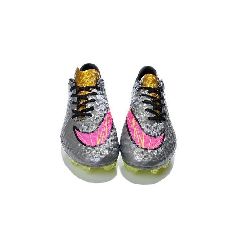 New Men Nike HyperVenom Phantom FG ACC Shoes Grey Yellow Pink