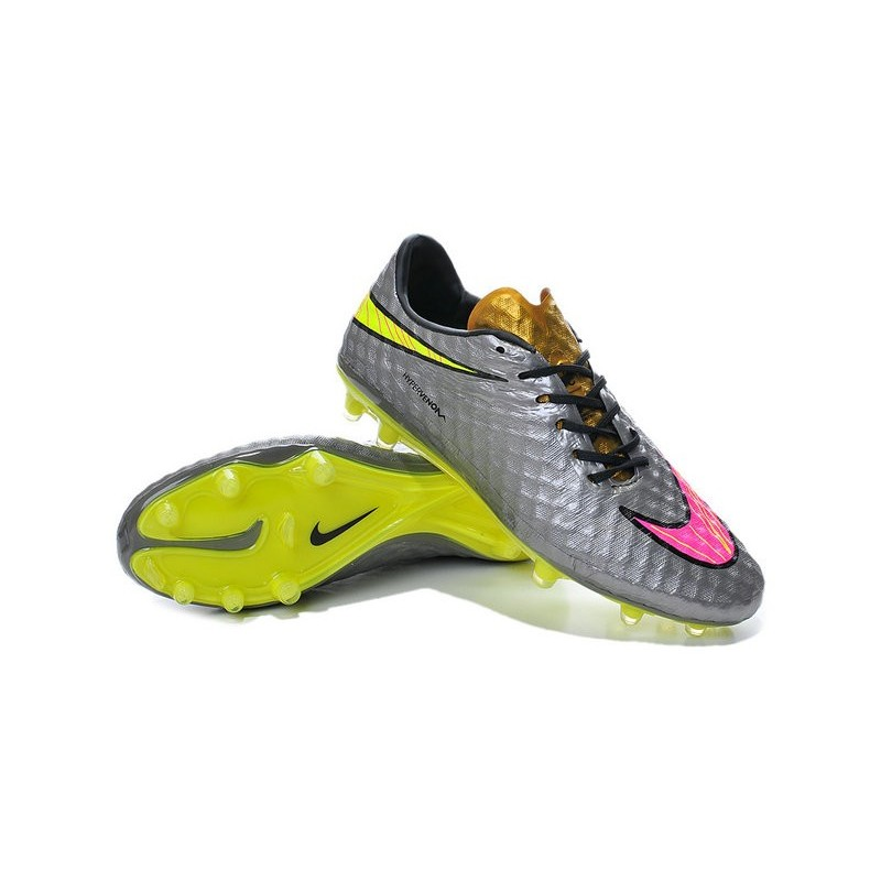 New Men Nike HyperVenom Phantom FG ACC Shoes Grey Yellow Pink