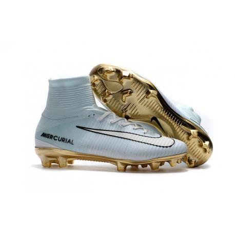 Nike Mercurial Superfly CR7 Vitórias V FG Soccer Boot White Gold