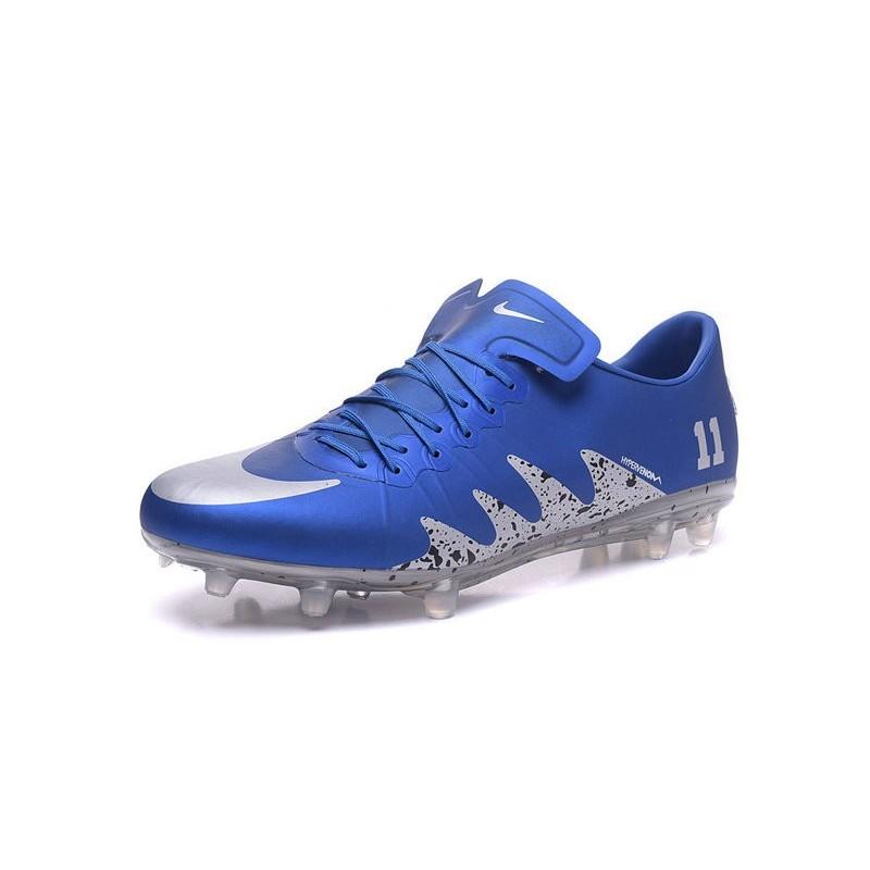 Nike Hypervenom Phinish FG ACC New 2017 Neymar Jordan Soccer Cleats Blue Silver