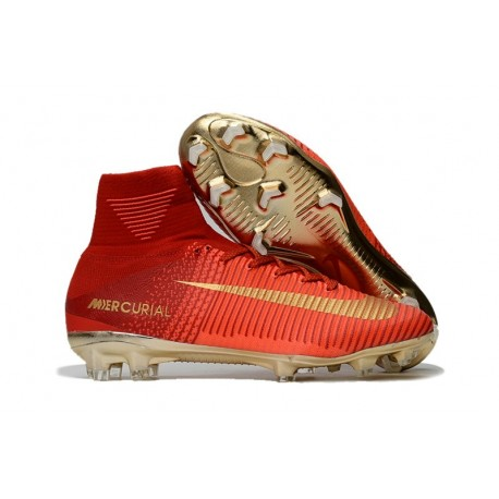 Nike Mercurial Superfly V CR7 FG Men High Top Boots Red Gold