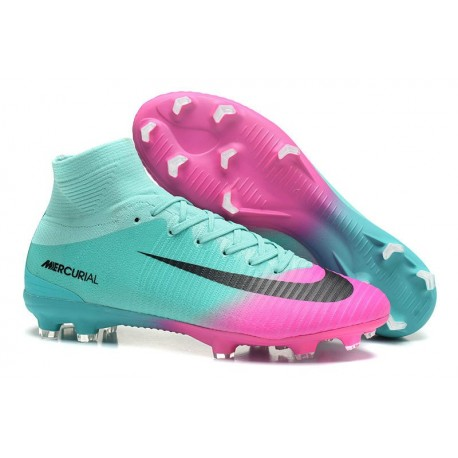 Nike Mercurial Superfly V FG Men High Top Boots Blue Pink Black