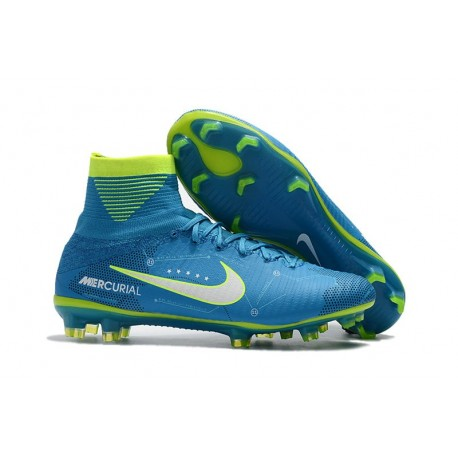 New Neymar Nike Mercurial Superfly 5 FG Firm Ground Soccer Cleats - Blue  White