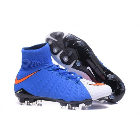 sale retailer 68471 e06b2 Nike Hypervenom Phantom III DF FG Tongueless Socccer Cleats - Blue White Red