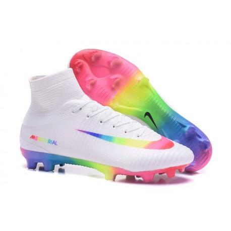 b2d66c216 Nike Mercurial Superfly V FG ACC Top Boots White Rainbow