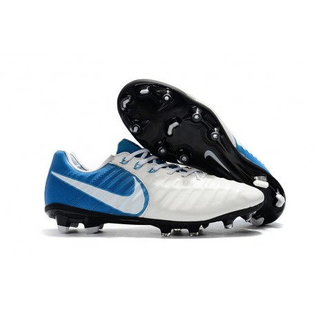 New Nike Tiempo Legend 7 FG K-leather Football Boots White Blue
