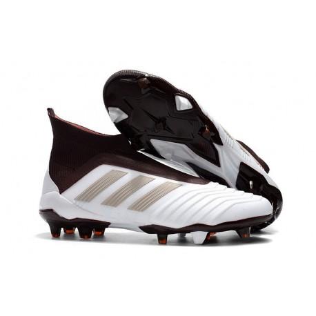 adidas New Predator 18+ FG Soccer Cleats White Brown