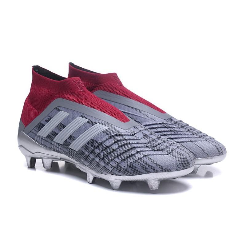 adidas New Predator 18+ FG Soccer Cleats Pogba Grey Red