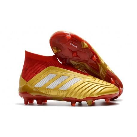 adidas New Predator 18+ FG Soccer Cleats Golden Red