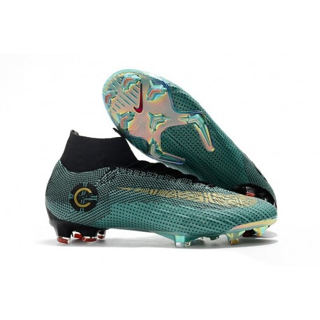 Nike Mercurial Superfly VI 360 Elite Ronaldo FG Soccer Cleats - Jade Gold Black