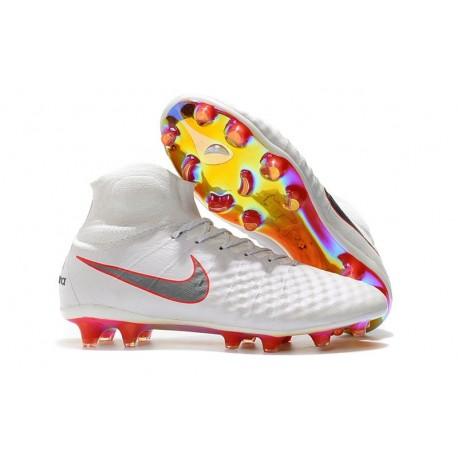 Top Nike Magista Obra 2 FG Firm Ground Boots - White Grey Crimson
