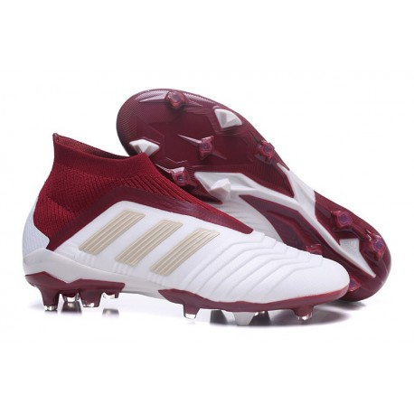 adidas New Predator 18+ FG Soccer Cleats White Red