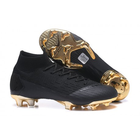 Nike Mercurial Superfly Vi Elite FG New Soccer Cleats - Black Gold