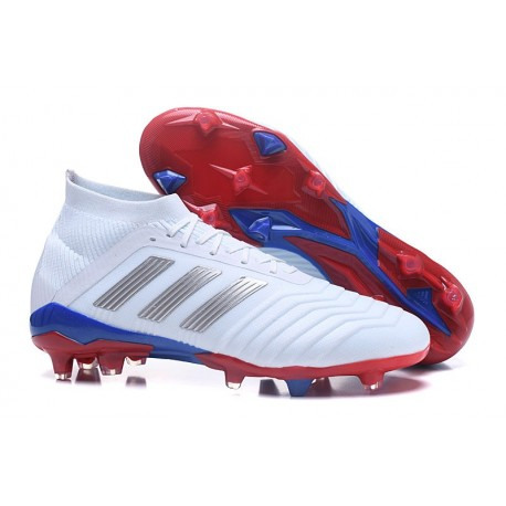 677469a7fb7 adidas Predator 18.1 Mens Telstar FG Football Boots White Silver Red Blue