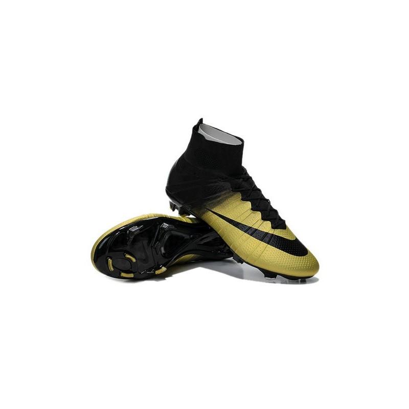 New 2015 Ronaldo Nike Mercurial Superfly Iv FG Football Cleats CR7 Gold Black