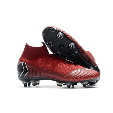 Nike Mercurial Superfly VI Elite Anti-Clog SG-Pro Boots Red Black