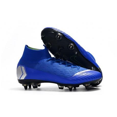Nike Mercurial Superfly VI Elite Anti-Clog SG-Pro Boots Blue Silver