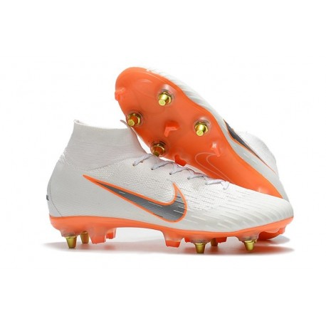 Nike Mercurial Superfly VI Elite Anti-Clog SG-Pro Boots White Orange