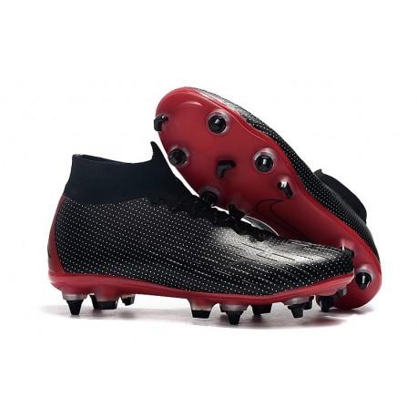 Nike x Jordan Mercurial Superfly 6 Elite AC SG-Pro Cleats - Black Red