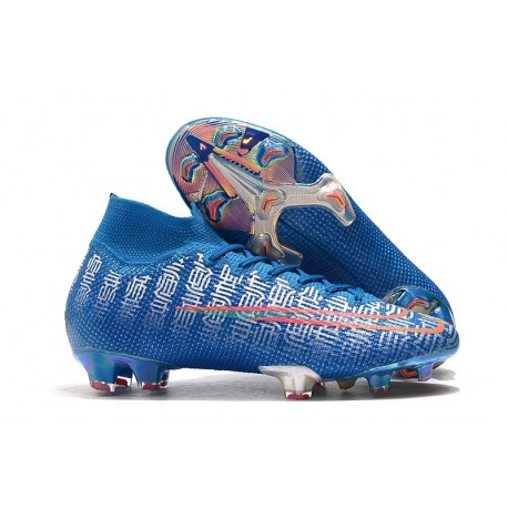 Nike Mercurial Superfly 7 Elite FG Soccer Cleats Blue Silver Red