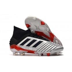 adidas Predator 19.1 FG Soccer Cleat Silver Black Red