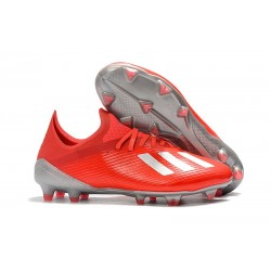 adidas X 19.1 FG Soccer Cleats - Active Red Siilver Metalic