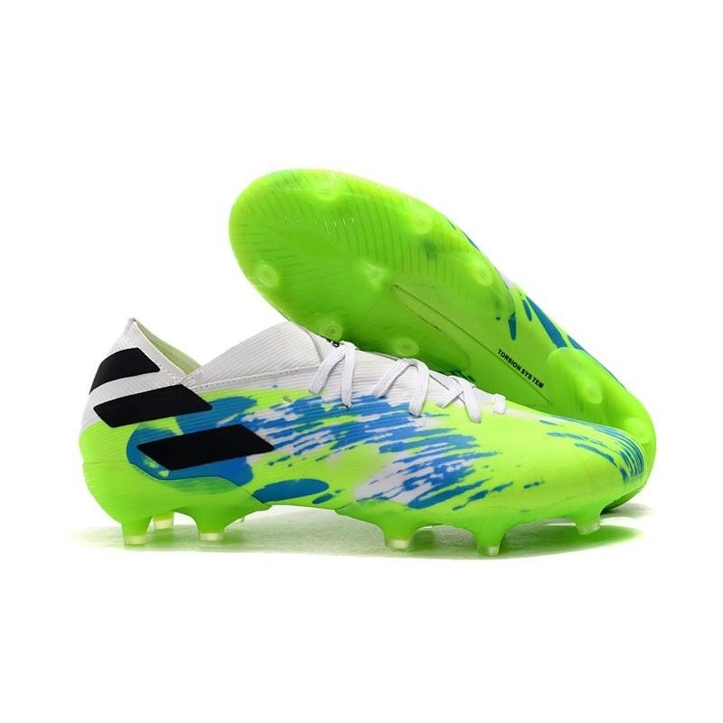 adidas Nemeziz 19.1 FG Soccer Cleats Green Blue Black