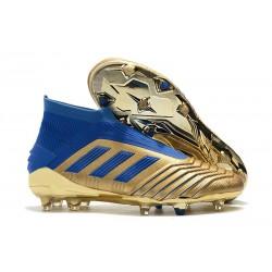 New adidas Predator 19+ FG Soccer Cleat Golden Blue