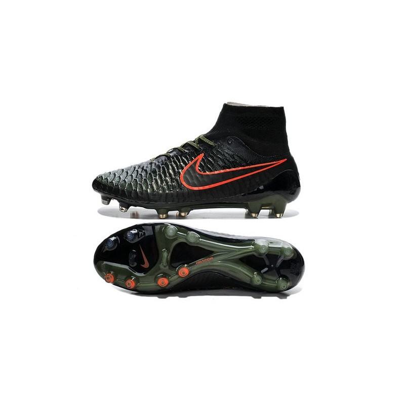 New 2015 Nike Magista Obra FG ACC Men Soccer Cleats Black Rough Green Hyper Crimson