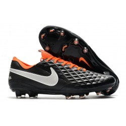 Nike Tiempo Legend VIII Elite FG Cleats Black White Orange