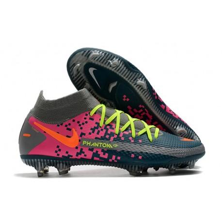 Nike Phantom GT Elite DF FG Firm Ground Gray Cyan Pink