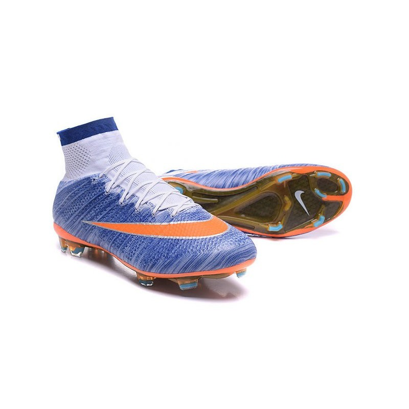 Top New Nike Mercurial Superfly Iv FG Football Cleats Speed Blue Orange