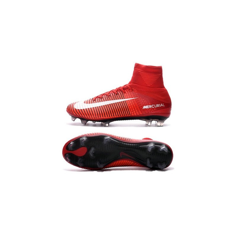 Cristiano Ronaldo Nike Mercurial Superfly V FG Football Cleats Red White