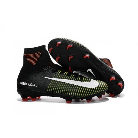 Nike Mercurial Superfly V FG High Top Firm Ground Shoes Black Purple White