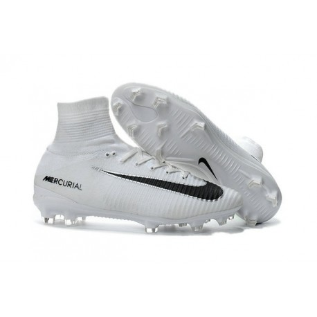 New Nike Mercurial Superfly 5 FG Firm Ground Football Cleats White Black