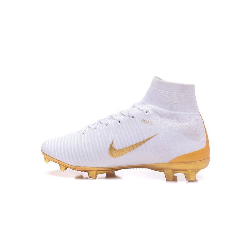 Nike Mercurial Superfly V FG Soccer Boot Real Madrid FC White Gold