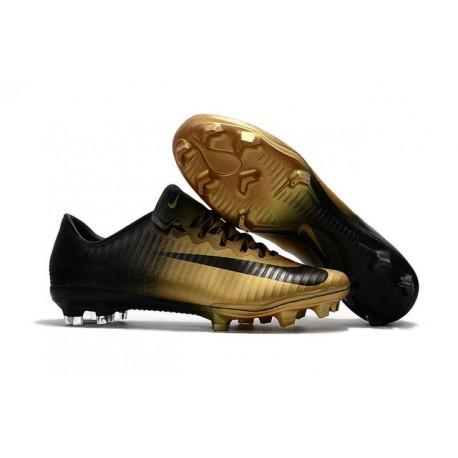 New Ronaldo Nike Mercurial Vapor XI FG Soccer Cleats Golden Black