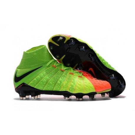 Top New Nike Hypervenom Phantom III DF FG Boots Green Orange Black