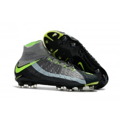 Nike Hypervenom Phantom III DF FG Tongueless Socccer Cleats - Air Max Black Grey
