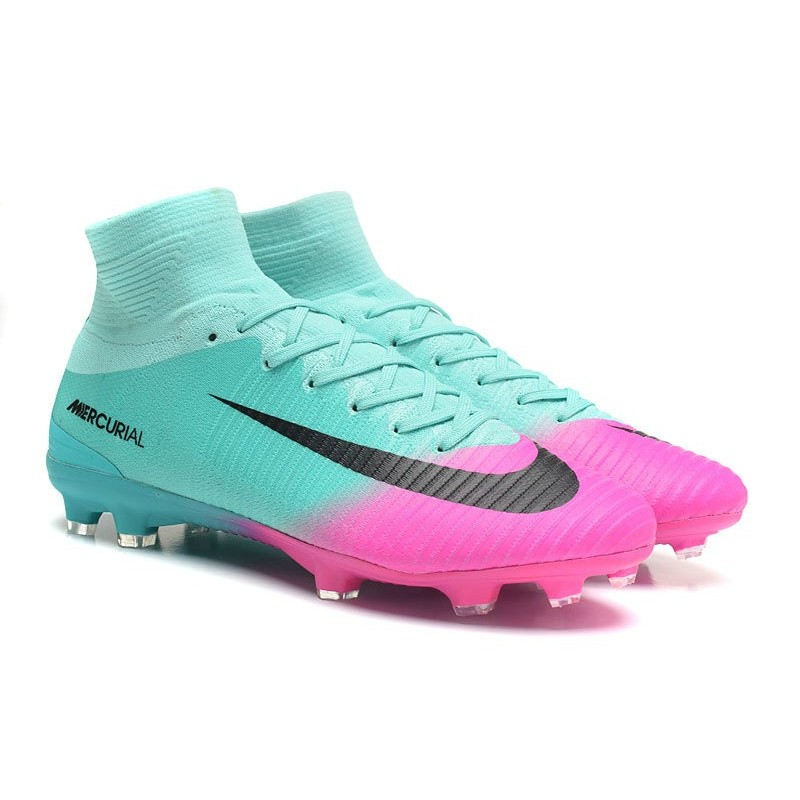 dae26b9d9b0 Nike Mercurial Superfly V FG Men High Top Boots Blue Pink Black Maximize.  Previous. Next