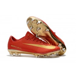 Nike Mercurial Vapor 11 CR7 FG Firm Ground Men Football Shoes Red Gold