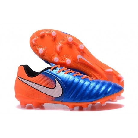 New Nike Tiempo Legend 7 FG K-leather Football Boots Blue Orange