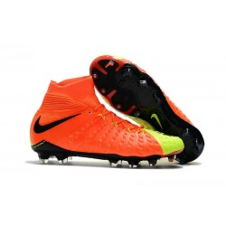Nike Hypervenom Phantom III DF FG Flyknit Boots - Orange Yellow