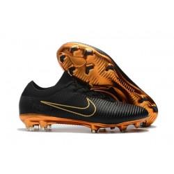 Nike Mercurial Vapor Flyknit Ultra FG ACC Mens Soccer Boots Black Golden