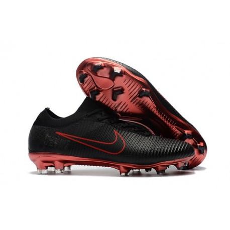 Nike Mercurial Vapor Flyknit Ultra FG ACC Mens Soccer Boots Black Red