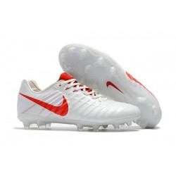 New Nike Tiempo Legend 7 FG K-leather Football Boots White Red