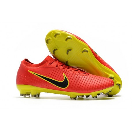Nike Mercurial Vapor Flyknit Ultra FG ACC Mens Soccer Boots Red Yellow