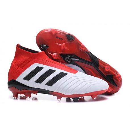adidas New Predator 18+ FG Soccer Cleats White Red Black